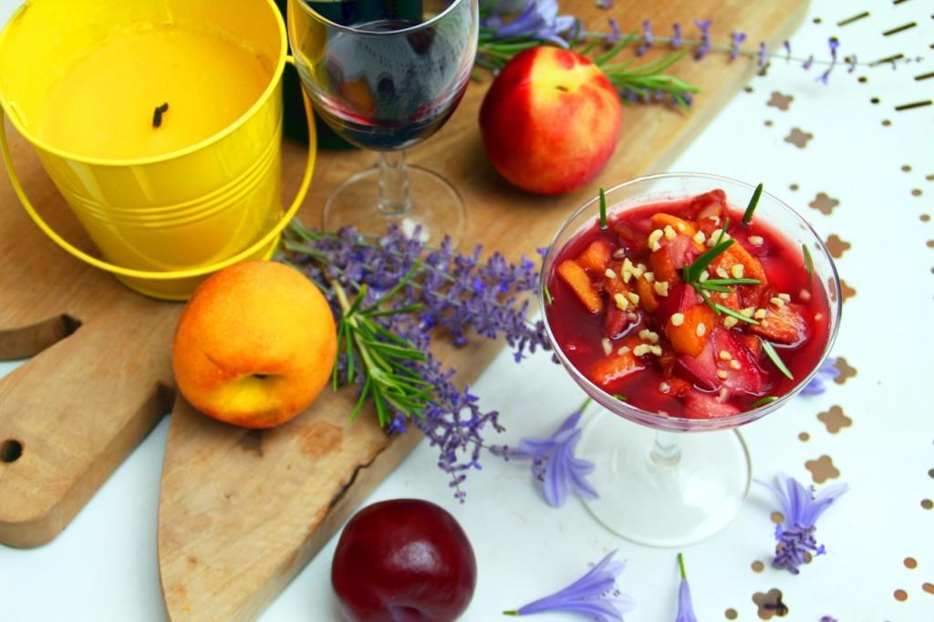 Nectarine, Rosemary & Red Wine Cups